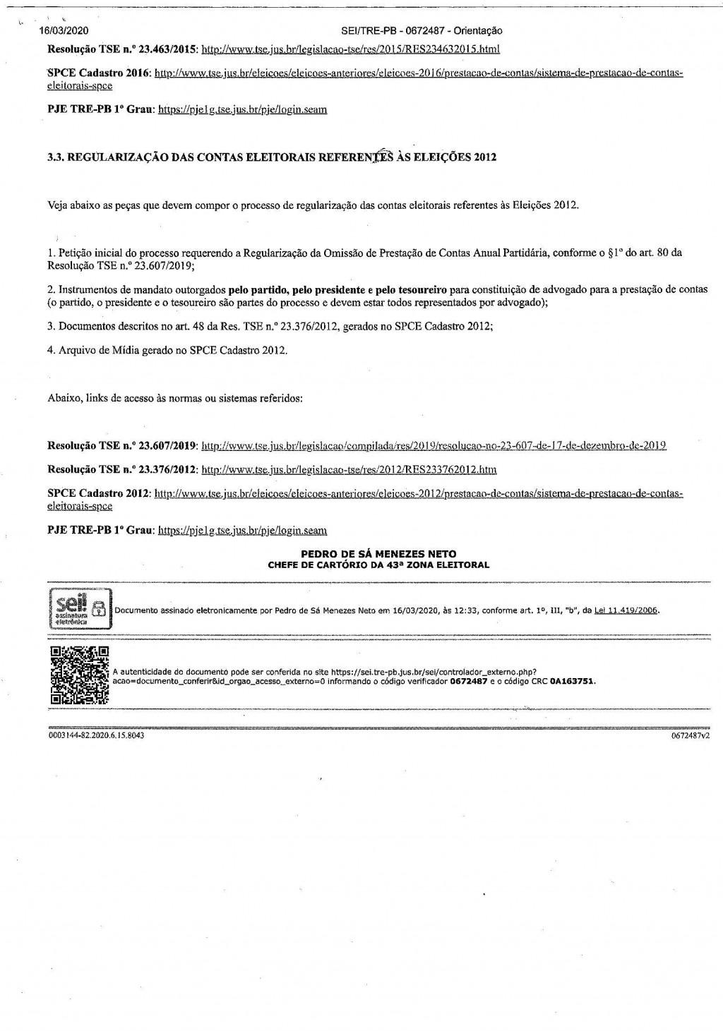 Orientaçaos Partidos Políticos sob elaboração de protocolização dos processos de prestação de contas anuais e eleitorais